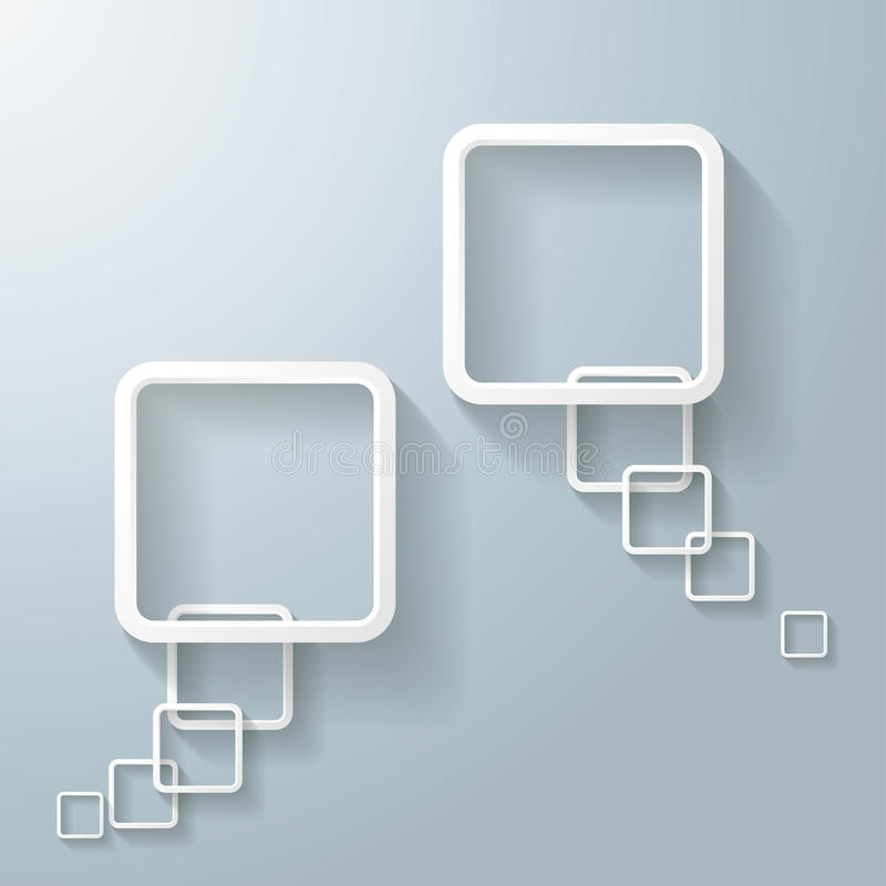 Bulle blanche abstraite de la parole du rectangle deux illustration stock