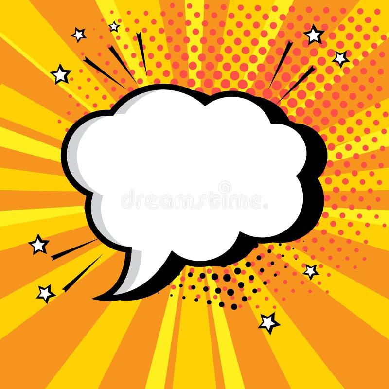 Bulle blanche vide de la parole pour votre texte sur le fond orange Effets sonores comiques dans le style d'art de bruit Illustra illustration stock