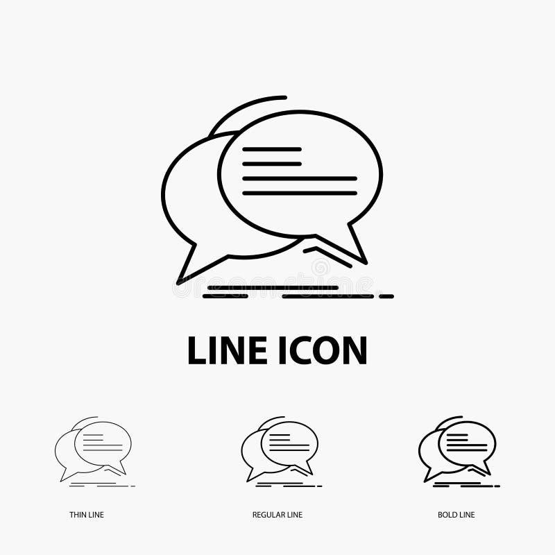 Bulle, causerie, communication, la parole, icône d'entretien dans la ligne style mince, régulière et audacieuse Illustration de v illustration stock