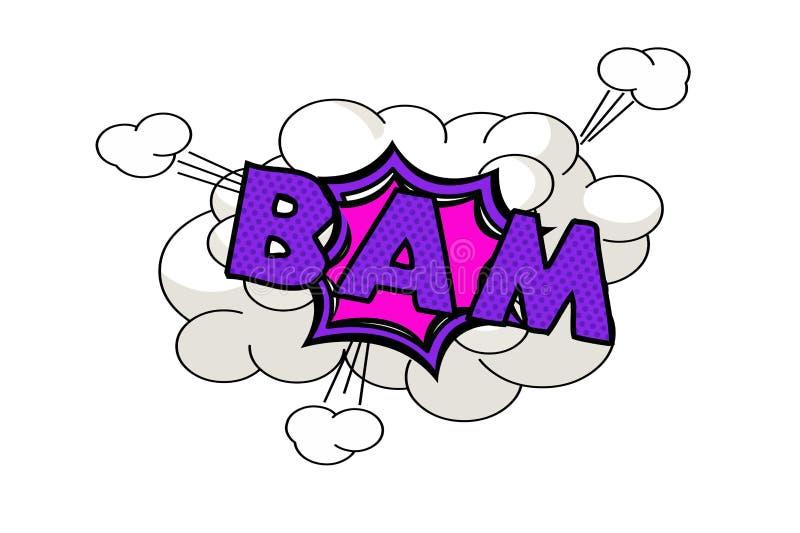 Bulle comique de bam Style d'art de bruit rétro sur le blanc illustration libre de droits