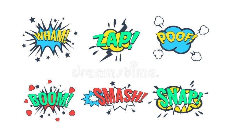 Bulle comique de la parole avec l'ensemble des textes, effets sonores comiques, vlan, vlan, pédé, boom, fracas, illustration inst illustration de vecteur
