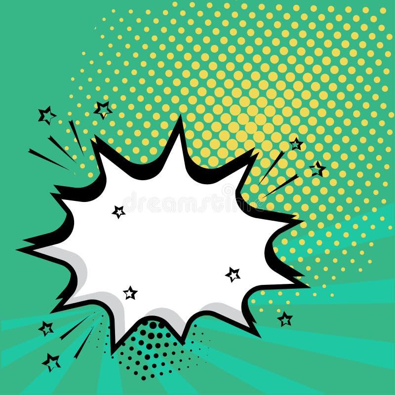 Bulle comique de la parole vide blanche avec des étoiles et des points Illustration de vecteur dans le bruit Art Style illustration stock