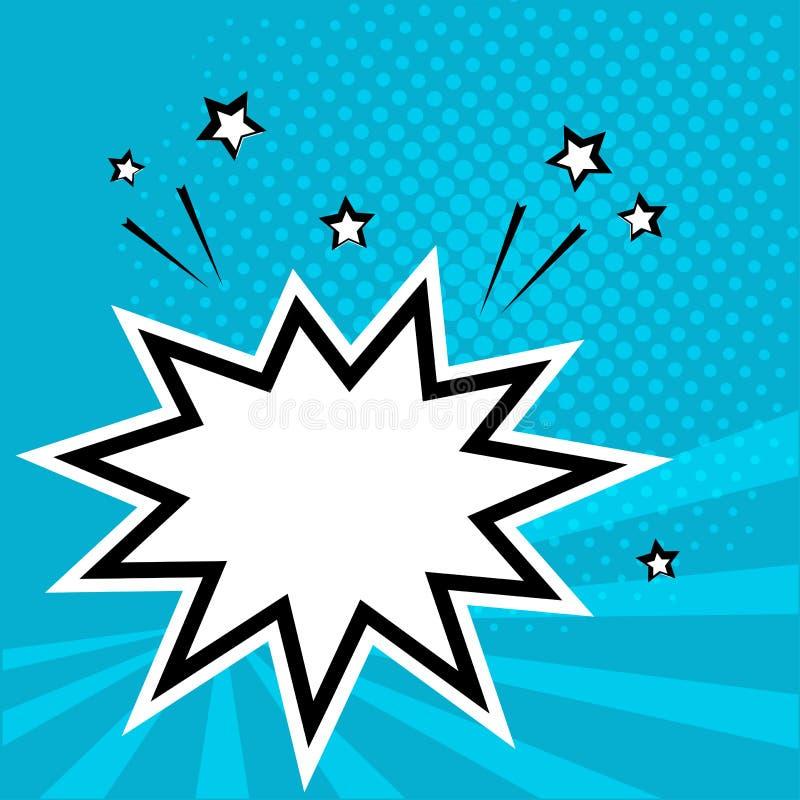 Bulle comique de la parole vide blanche avec des étoiles Illustration de vecteur dans le bruit Art Style illustration libre de droits