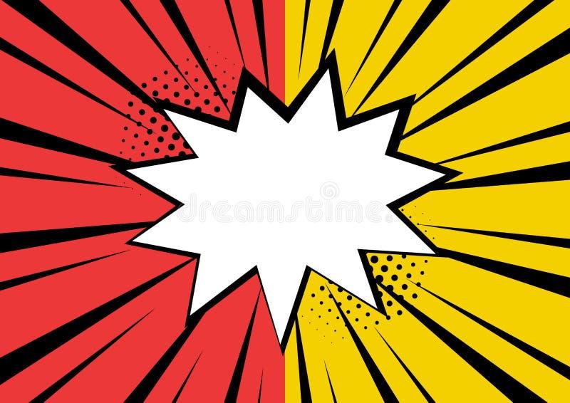 Bulle comique vide blanche de la parole avec des étoiles et des points Illustration de vecteur dans le bruit Art Style illustration de vecteur