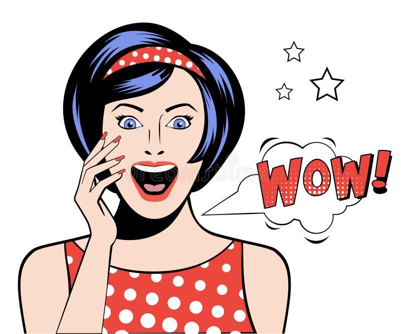 Bulle d'Art Woman wow de bruit Illustration de vecteur illustration stock