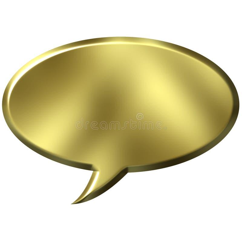 bulle d'or de la parole 3D illustration libre de droits