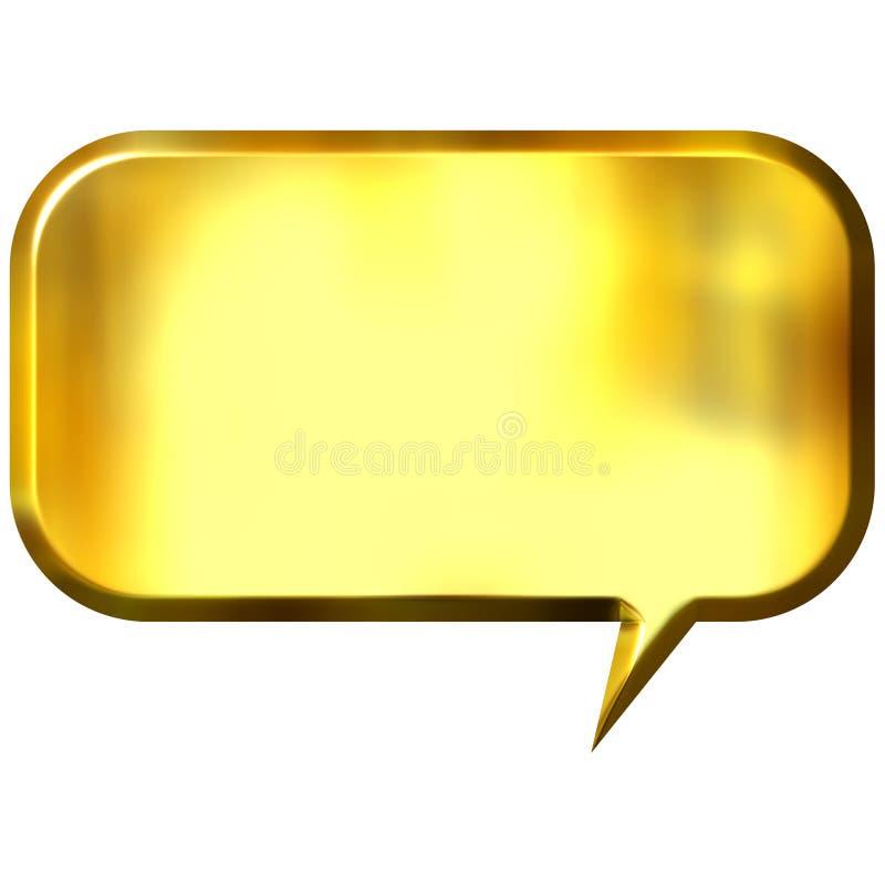 bulle d'or de la parole 3D illustration stock