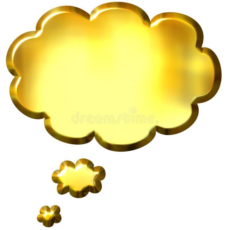 bulle d'or de la pensée 3D illustration libre de droits