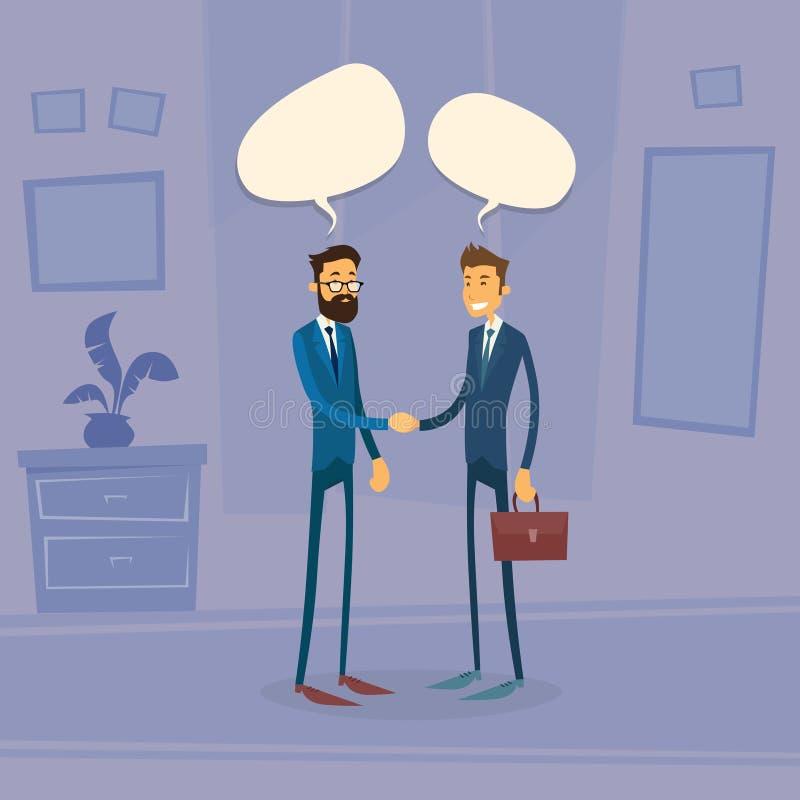 Bulle de boîte de causerie de Hand Shake Talking de deux hommes d'affaires illustration de vecteur