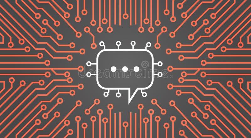 Bulle de causerie au-dessus de bannière de concept de système de données de réseau de Chip Moterboard Background Social Media d'o illustration de vecteur