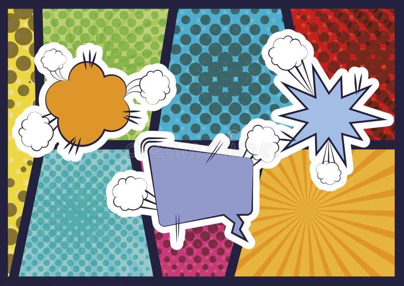 Bulle de la parole avec l'art de bruit comique explosif illustration stock