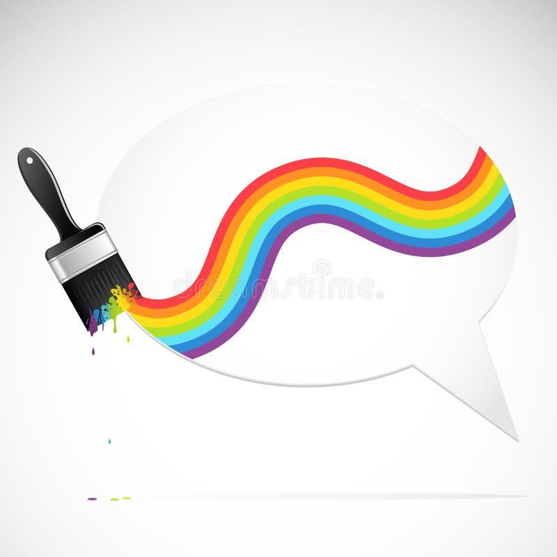 Bulle de la parole avec le balai d'arc-en-ciel illustration stock