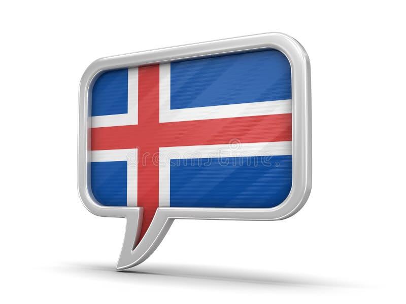 Bulle de la parole avec le drapeau islandais illustration stock