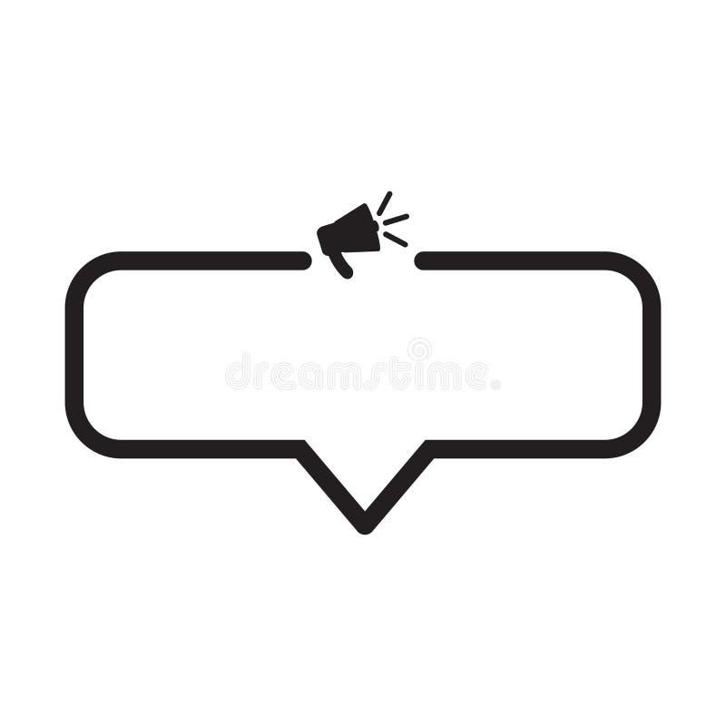 Bulle de la parole avec le mégaphone, haut-parleur illustration stock