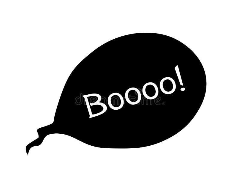 Bulle de la parole avec le texte BOOO d'expression illustration simple noire de silhouette booo des inscriptions de Halloween illustration de vecteur