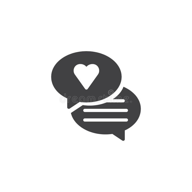 Bulle de la parole avec le vecteur d'icône de coeur illustration stock
