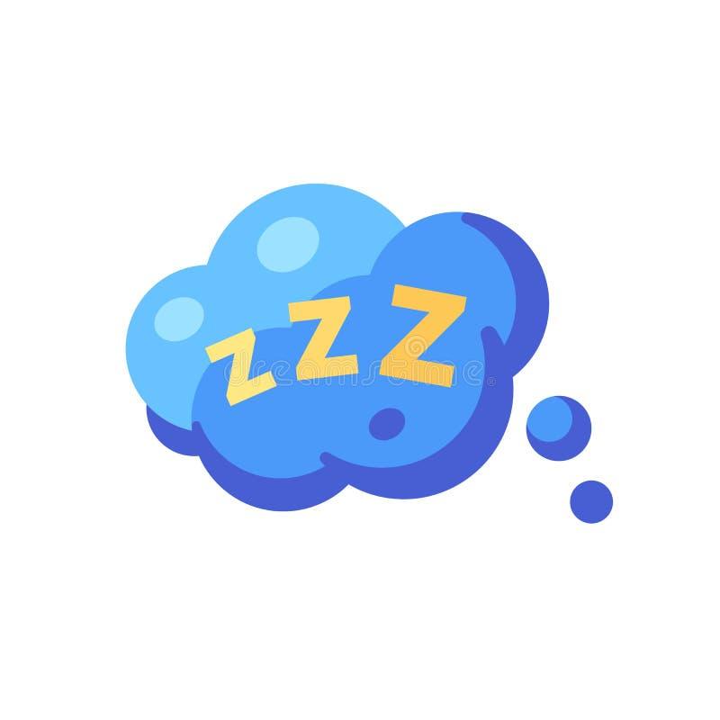 Bulle de la parole avec ZZZ Ic?ne plate de sommeil illustration stock