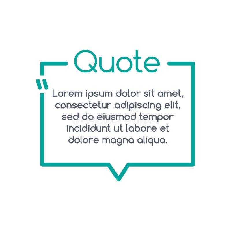 Bulle de la parole de citation, calibre, texte entre parenthèses, cadre de citation, boîte de citation Illustration de vecteur illustration stock