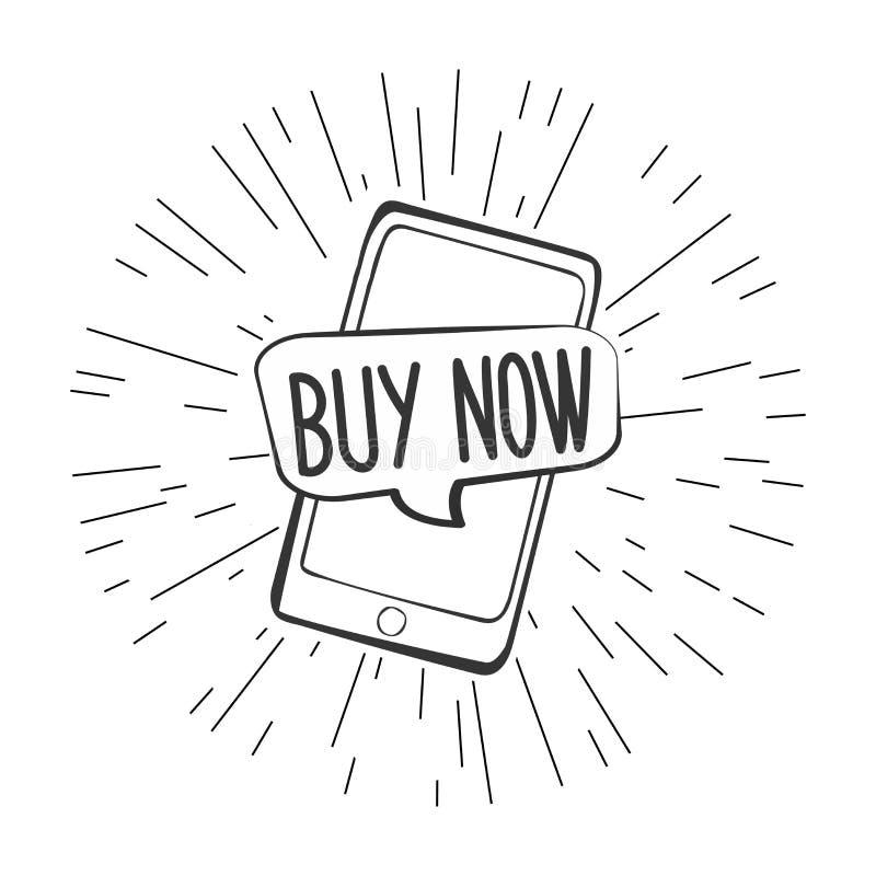 Bulle de la parole d'acheter maintenant sur l'écran de téléphone portable illustration libre de droits