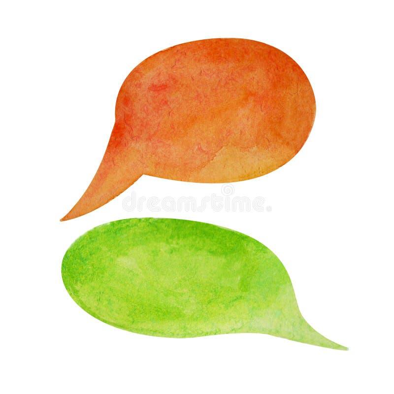 Bulle de la parole d'aquarelle sur le fond blanc Élément tiré par la main des textes de bulle de nuage vert et orange de ressort illustration de vecteur