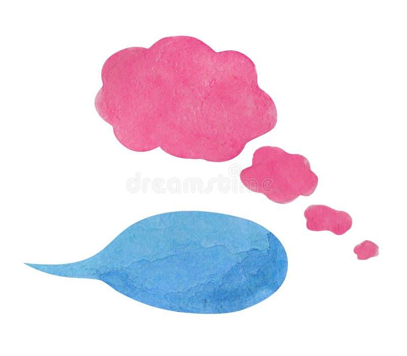 Bulle de la parole d'aquarelle sur le fond blanc Élément tiré par la main des textes de nuage bleu de bulle illustration de vecteur