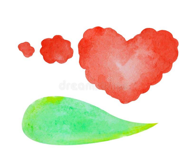 Bulle de la parole d'aquarelle sur le fond blanc Élément tiré par la main des textes de nuage vert de bulle illustration de vecteur
