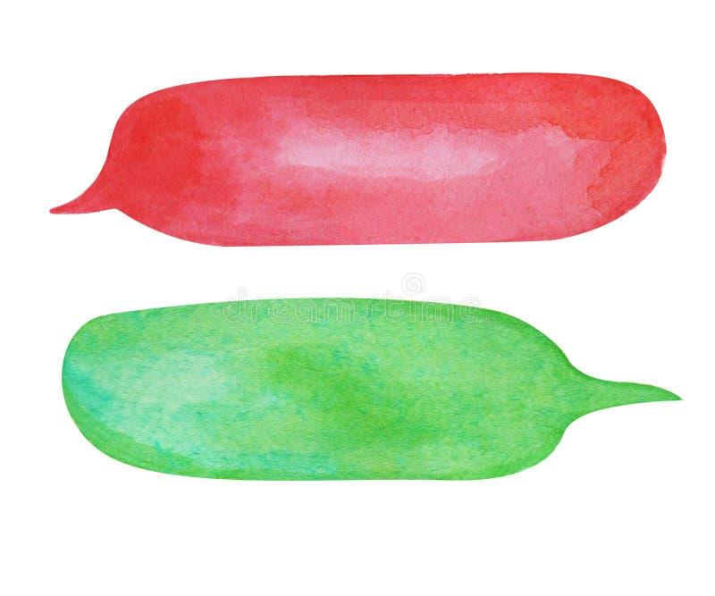 Bulle de la parole d'aquarelle sur le fond blanc Élément tiré par la main long des textes de nuage rouge et vert de bulle illustration de vecteur