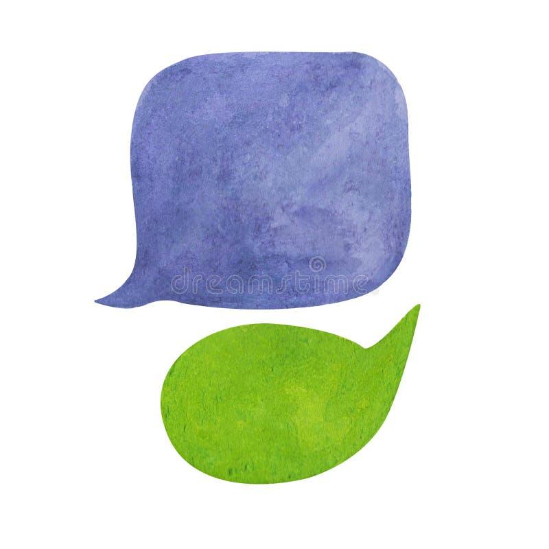 Bulle de la parole d'aquarelle sur le fond blanc Élément tiré par la main pourpre des textes de nuage bleu et vert de bulle illustration stock