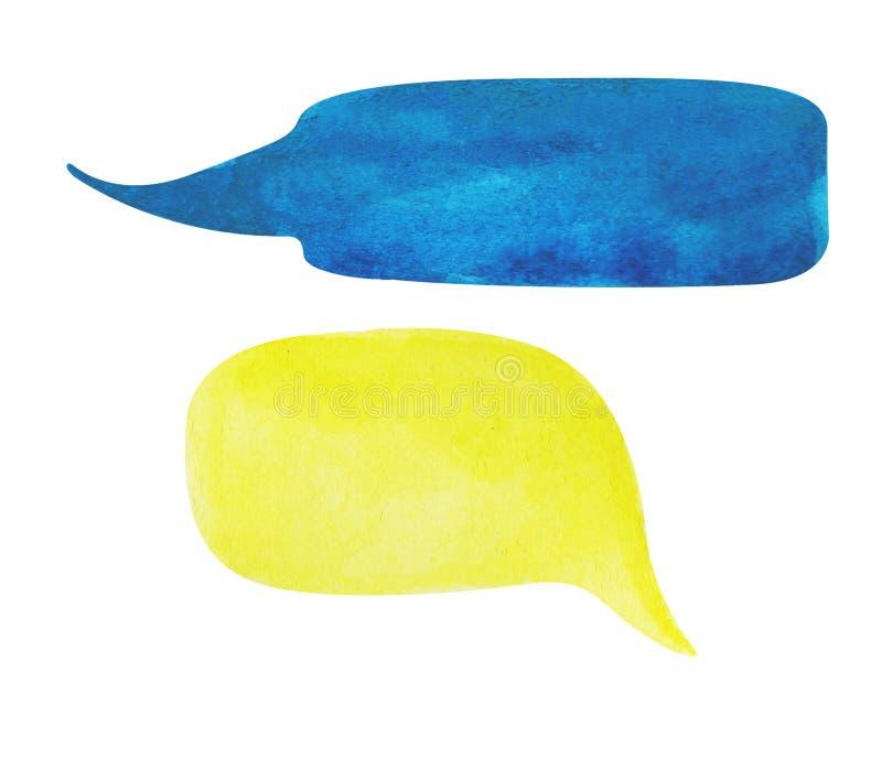 Bulle de la parole d'aquarelle sur le fond blanc Le bleu marine et la bulle des textes jaunes opacifient l'élément tiré par la ma illustration stock