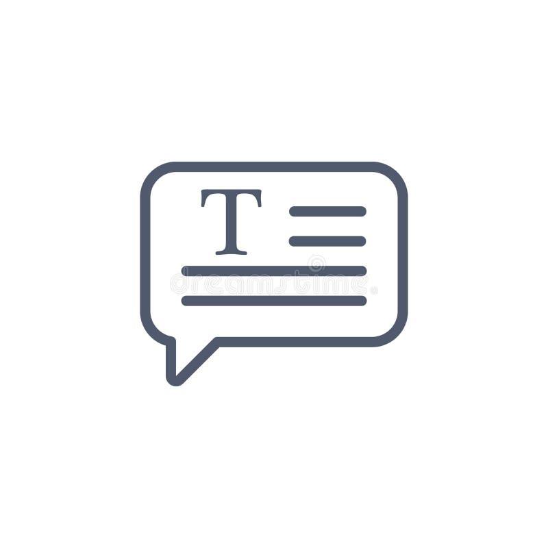 Bulle de la parole, style linéaire d'icône de causerie Style de minimalisme Lettre F pour le texte Illustration de vecteur d'isol illustration libre de droits