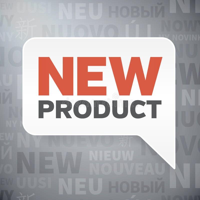 Bulle de papier de la parole avec le produit nouveau dans la langue différente illustration de vecteur