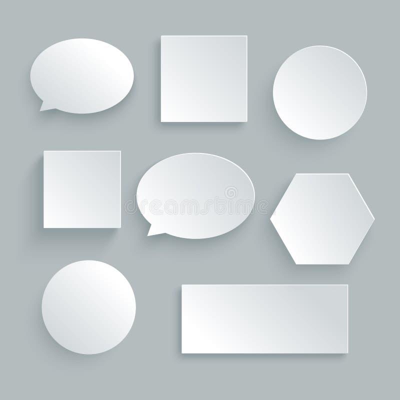 Bulle de papier de la parole dans la couleur blanche Illustration de vecteur pour le désordre illustration de vecteur