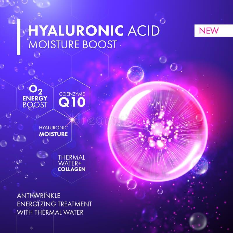 Bulle de rose de collagène de poussée d'humidité d'acide hyaluronique illustration libre de droits