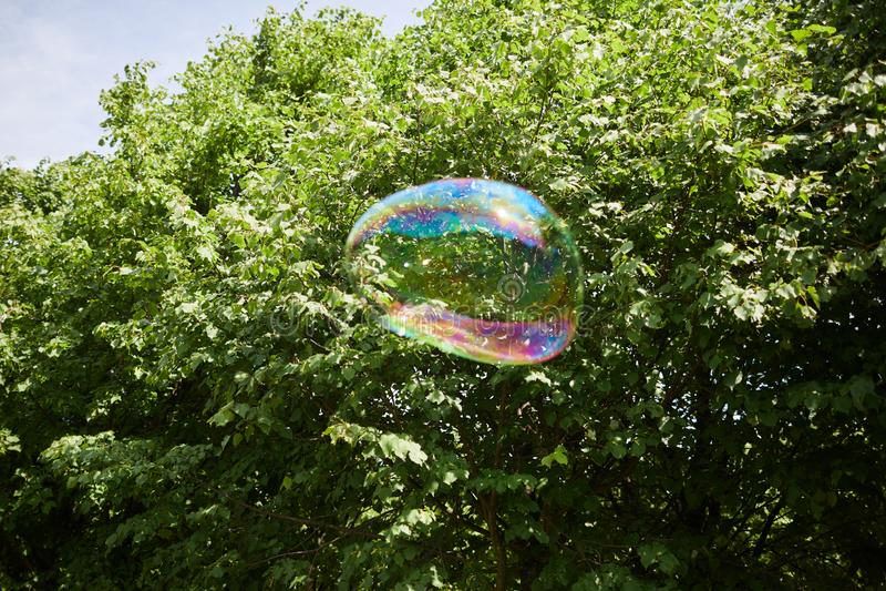 Bulle de savon colorée en air photographie stock