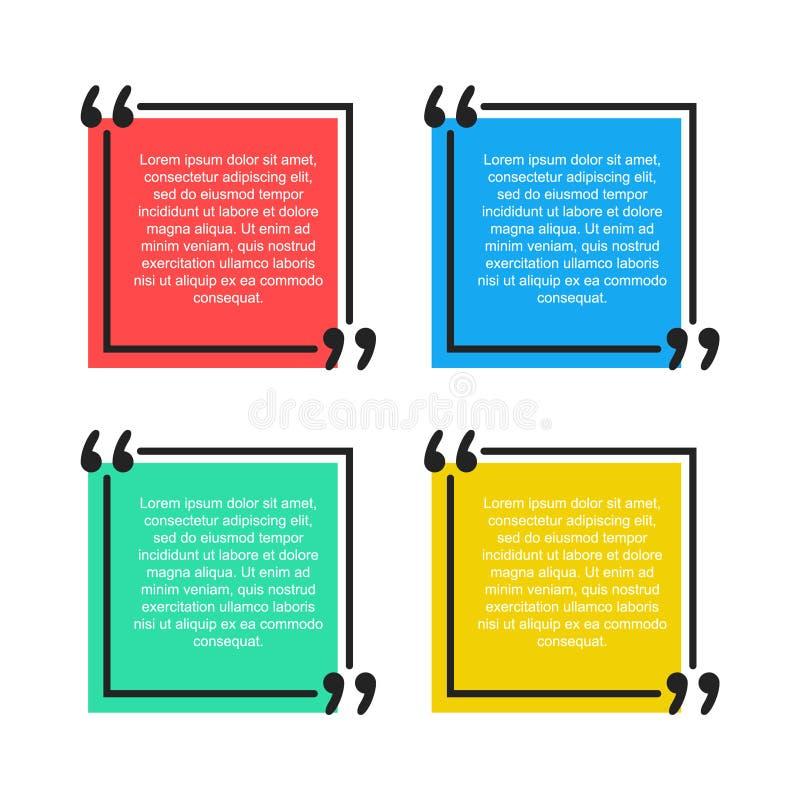 Bulle des textes de citation L'illustration de virgules, de citation, de note, de message et de vecteur de commentaire conçoivent illustration de vecteur