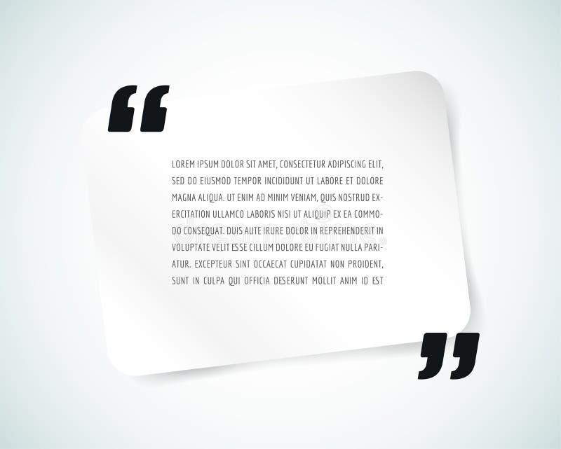 Bulle des textes de citation Virgules, note, message et illustration stock