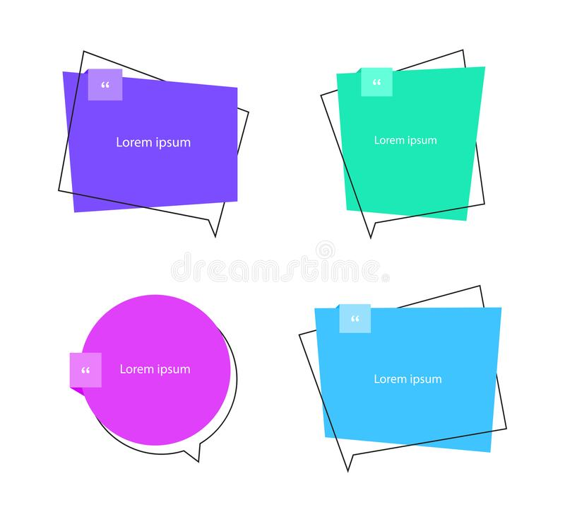 Bulle des textes de citation Virgules, note, message et commentaire Style plat d'illustration moderne de vecteur illustration stock