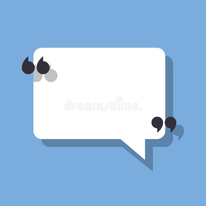 Bulle et guillemets de la parole Dirigez l'illustration sur un fond bleu pour signaler votre citation ou texte illustration de vecteur