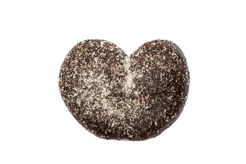 Bulle i hjärtaform med choklad och kokosnöten arkivfoto