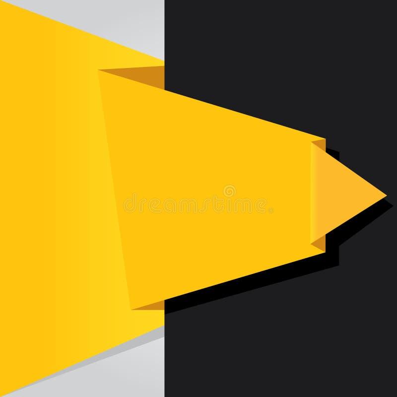 Bulle noire et orange abstraite de la parole d'origami. illustration de vecteur