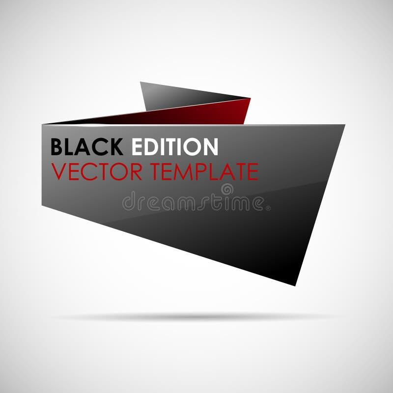 Bulle noire et rouge brillante abstraite de la parole d'origami illustration de vecteur