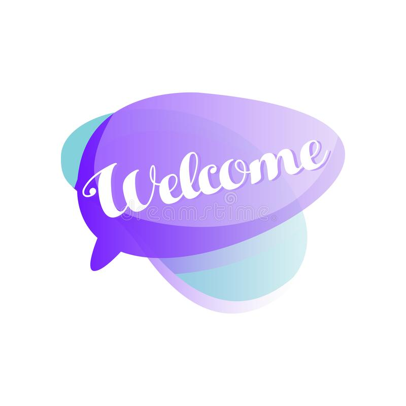 Bulle pourpre et bleue de la parole avec l'accueil court d'expression Icône dans la couleur de gradient avec le message de saluta illustration stock