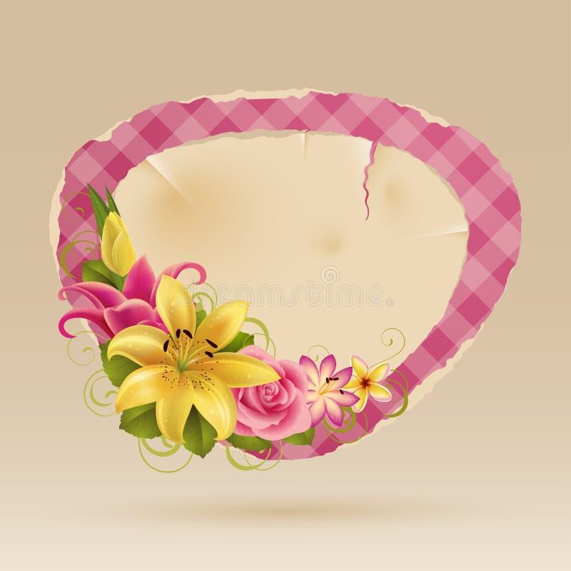 Bulle rose de cru pour le discours avec des fleurs illustration de vecteur