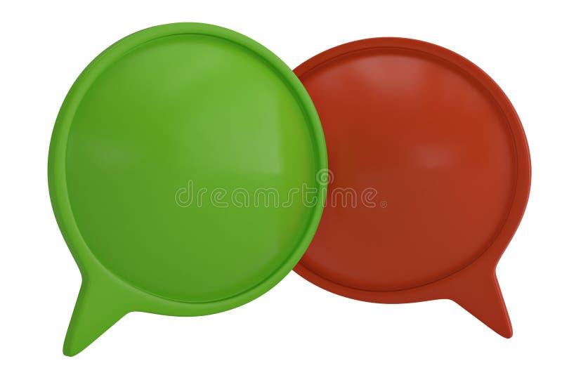 Bulle rouge et verte de la parole sur l'illustration blanche du fond 3D illustration de vecteur