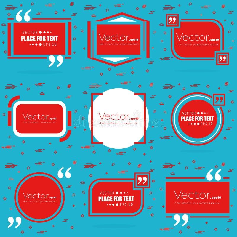 Bulle vide des textes de citation de place de la parole de vecteur abstrait de concept Pour le Web et l'APP mobile d'isolement su illustration stock