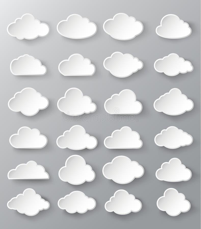 Bulles abstraites de la parole sous forme de nuages illustration stock