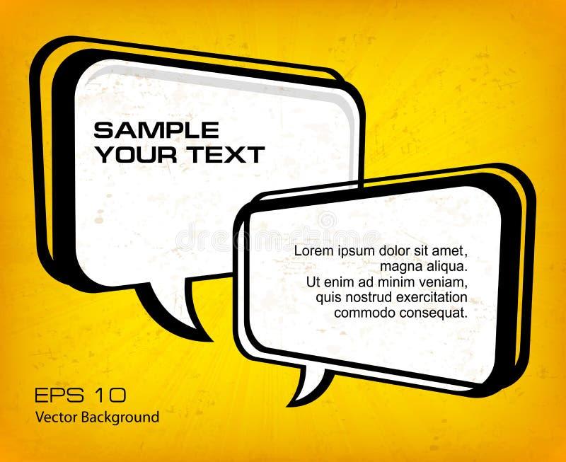 Bulles blanches de la parole sur le jaune illustration stock