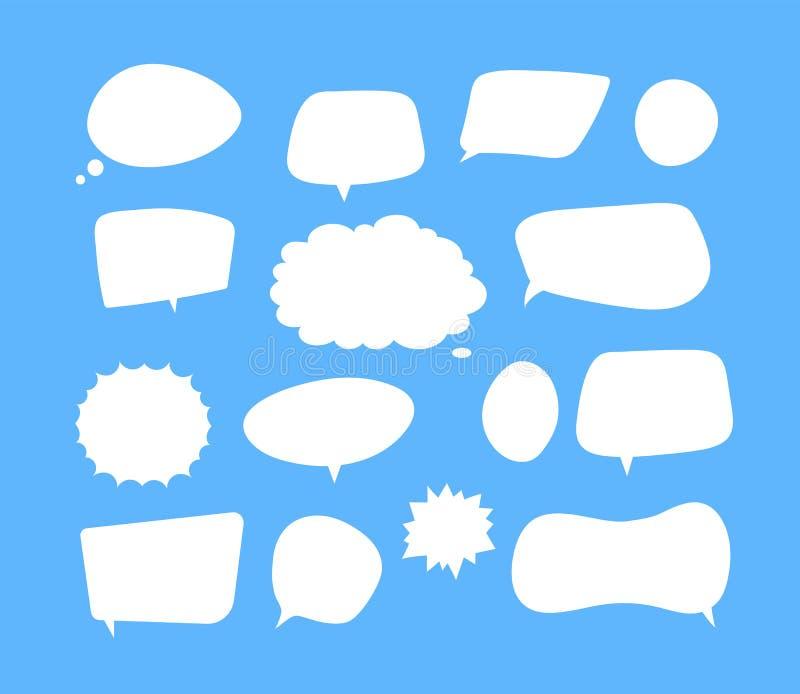 Bulles blanches de la parole Vecteur de cri comique de bouillonnement de pensée de formes de voix de nuage de commentaire de caus illustration libre de droits