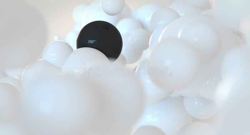 Bulles blanches et noires - sphères - concept abstrait de nuage illustration stock