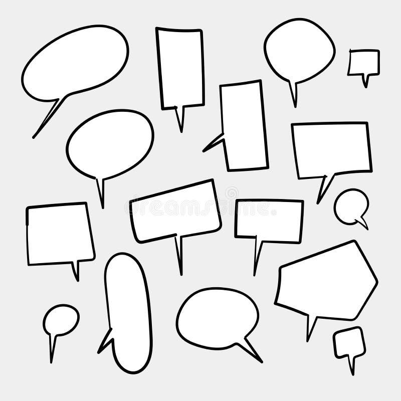Bulles blanches vides de la parole Formes de cri comiques de bouillonnement de pens?e de voix de nuage de commentaire de causerie illustration libre de droits